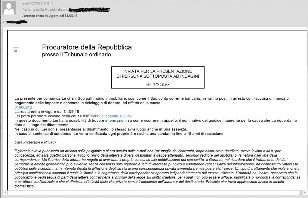CryptoLocker si traveste da notifica della Procura della Repubblica