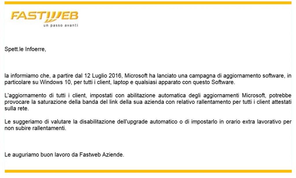 Fastweb - Aggiornamenti Windows 10